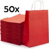 PrimeAmbition Kraft Papieren Tasjes Met Handvat – 50 Stuks – Rood – 18 x 8 x 24 cm – Papieren Zakjes - Gift Bag – Geschenktas – Cadeautasjes – Cadeauzakjes – Cadeau Tas
