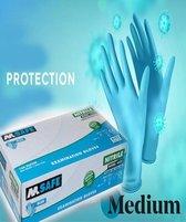Wegwerp Handschoen Nitril Ongepoederd -kleur Blauw - Maat Medium – 100 stuks/doos - Hoge kwaliteit zeer sterk en dun - Latex vrij-Zowel geschikt voor links als rechtshandige mensen Huishoudhandschoenen Medische handschoenen