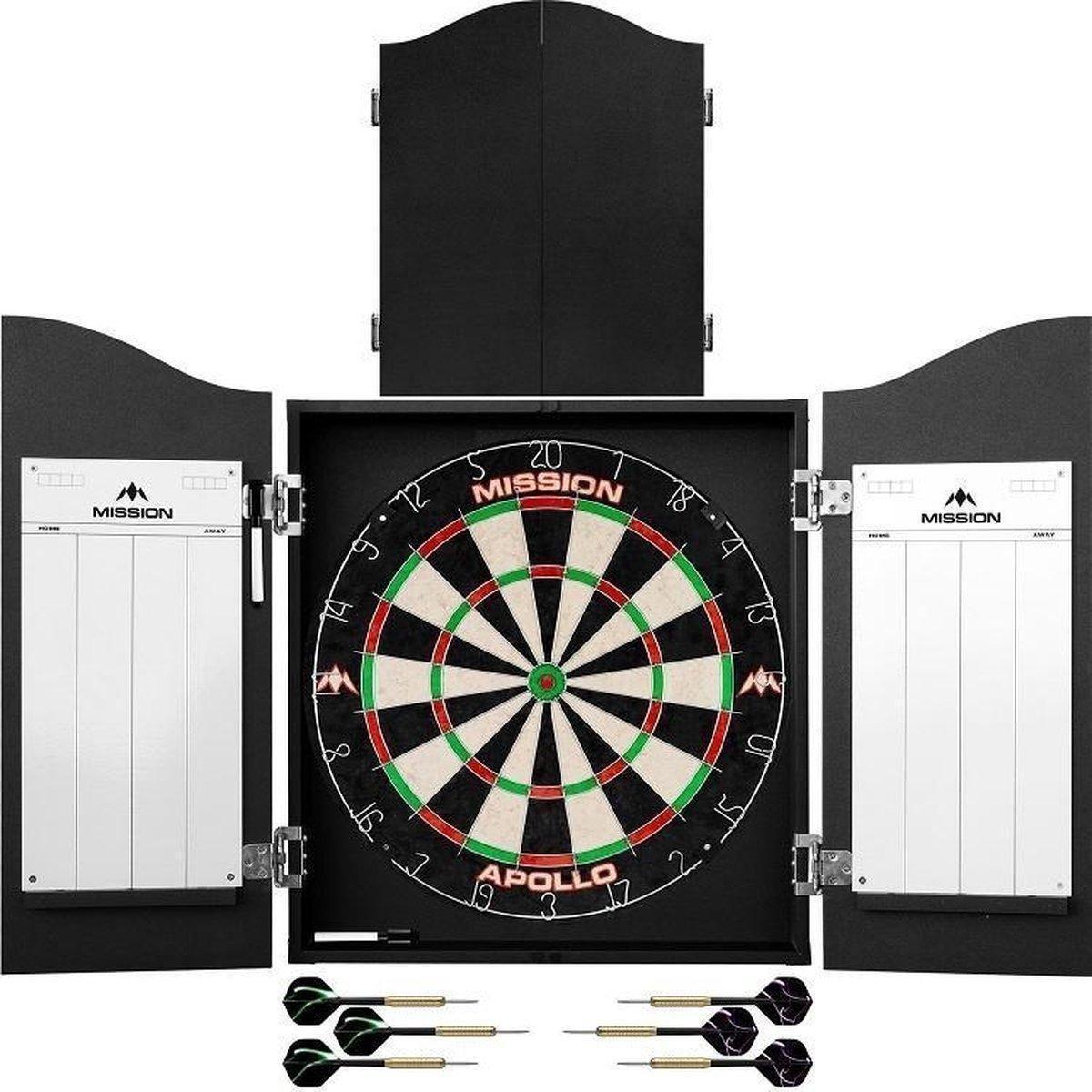 ABC Darts - Dartkabinet - 2 sets dartpijlen en dartbord - kabinet