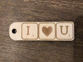 SLEUTELHANGER | I ♥ U | SCRABBLE LETTERS | 8CM