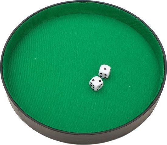 Yahtzee + Dobbelsteenbak - Dobbelset - Dobbelbak - Pokerpiste - Pitjesbak - Dobbelspel  - Dobbelstenen - Spel  - Kunstleer