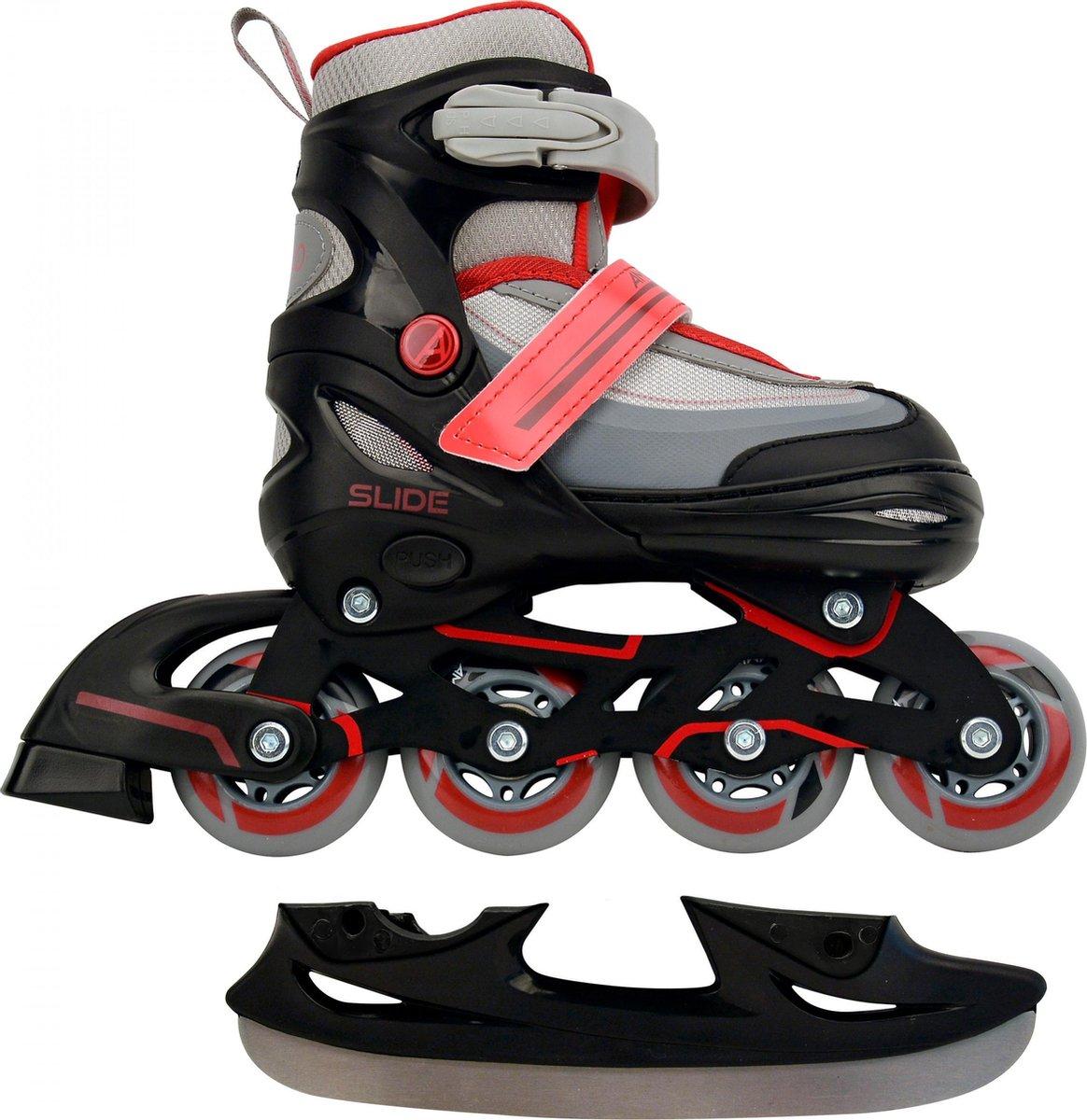 AMIGO Slide 2-in-1 skates - Voor jongens en meisjes - Zwart/Rood - Maat 34-37
