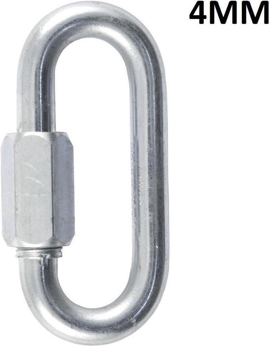 Quick link - 4 mm - gegalvaniseerd - schroef lock - 4 stuks
