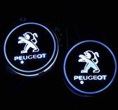 Coole Lichtgevende LED Onderzetters - Bekerhouders - Sfeerverlichting - LED Licht - Interieur Verlichting - 7 Verschillende Kleuren LED - Opladen via USB – Peugeot