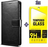 Samsung Galaxy A12 Hoesje Zwart - Portemonnee Book Case - Kaarthouder & Magneetlipje & Glazen Screenprotectors