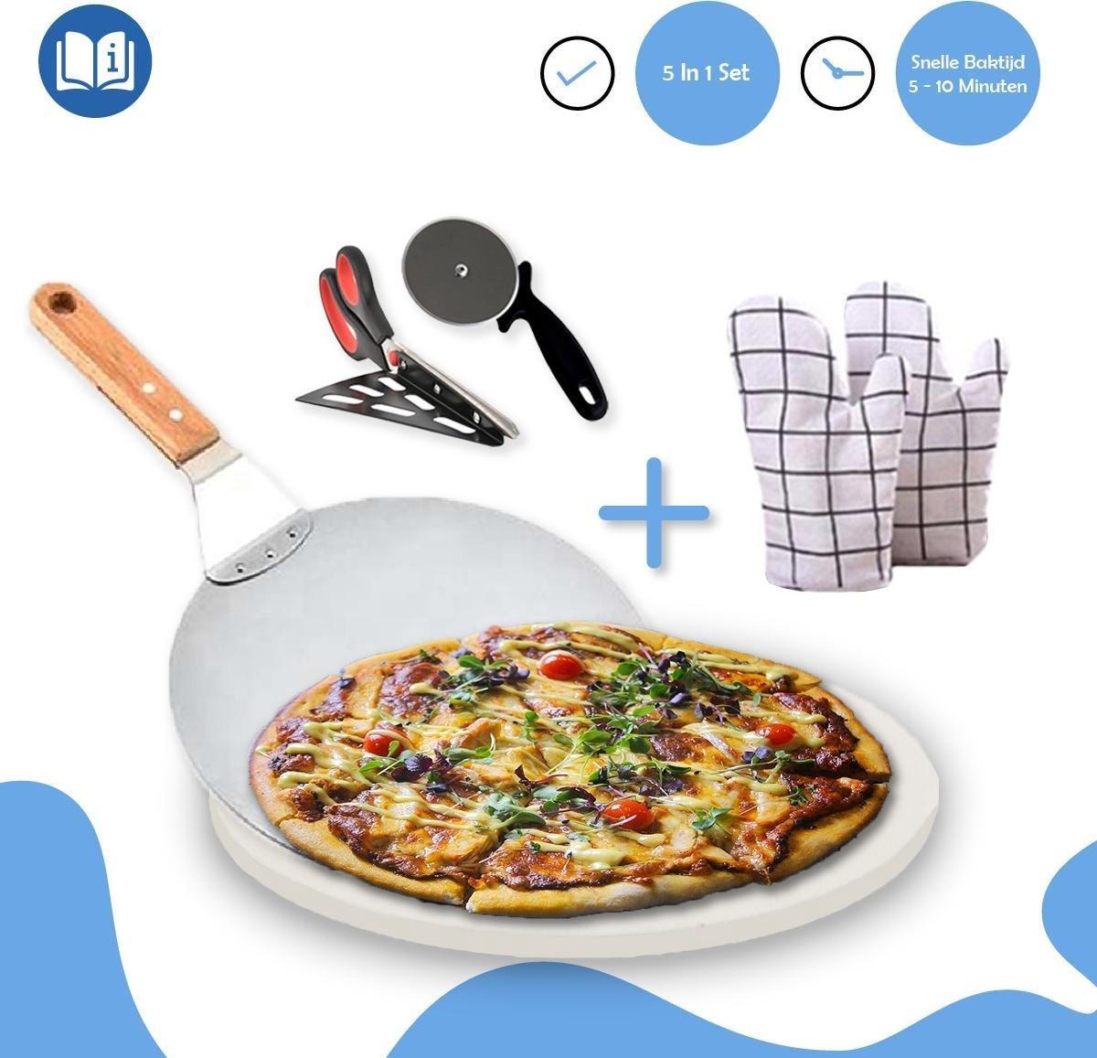 Fastella 5-in-1 Pizza Set - Pizzasteen BBQ - Barbecue & Oven - Ø 40 cm - 800°C - Cordieriet - Wit - Schaar, Mes & Schep - Incl. Ovenwanten