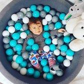 MeowBaby® Ronde Ballenbak set incl 200 ballen 90x30cm - Donker Grijs: Wit, Grijs, Turquoise