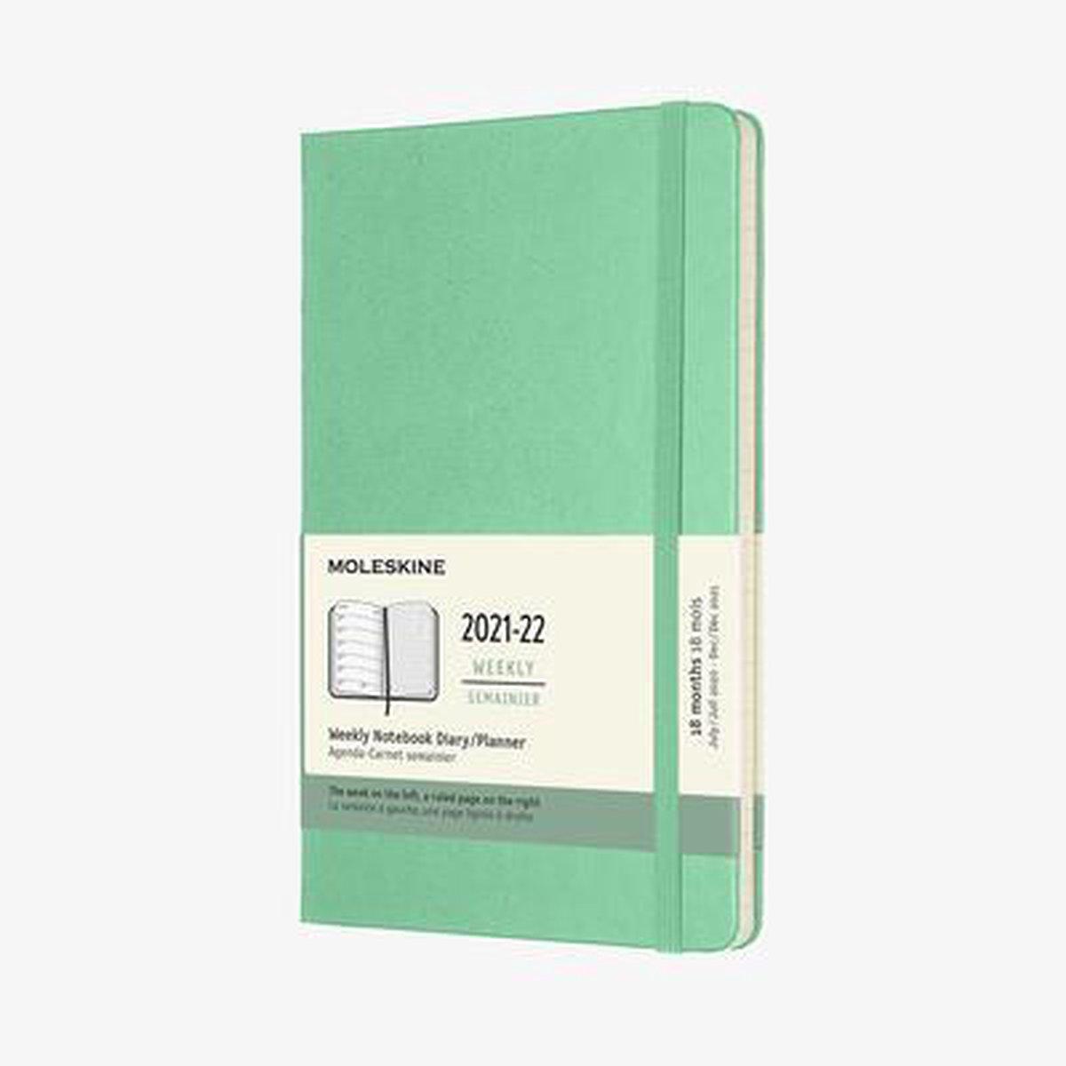 Moleskine 18 Maanden Agenda - 2021/22 - Wekelijks - Large (13x21 cm) - Ice Groen - Harde Kaft