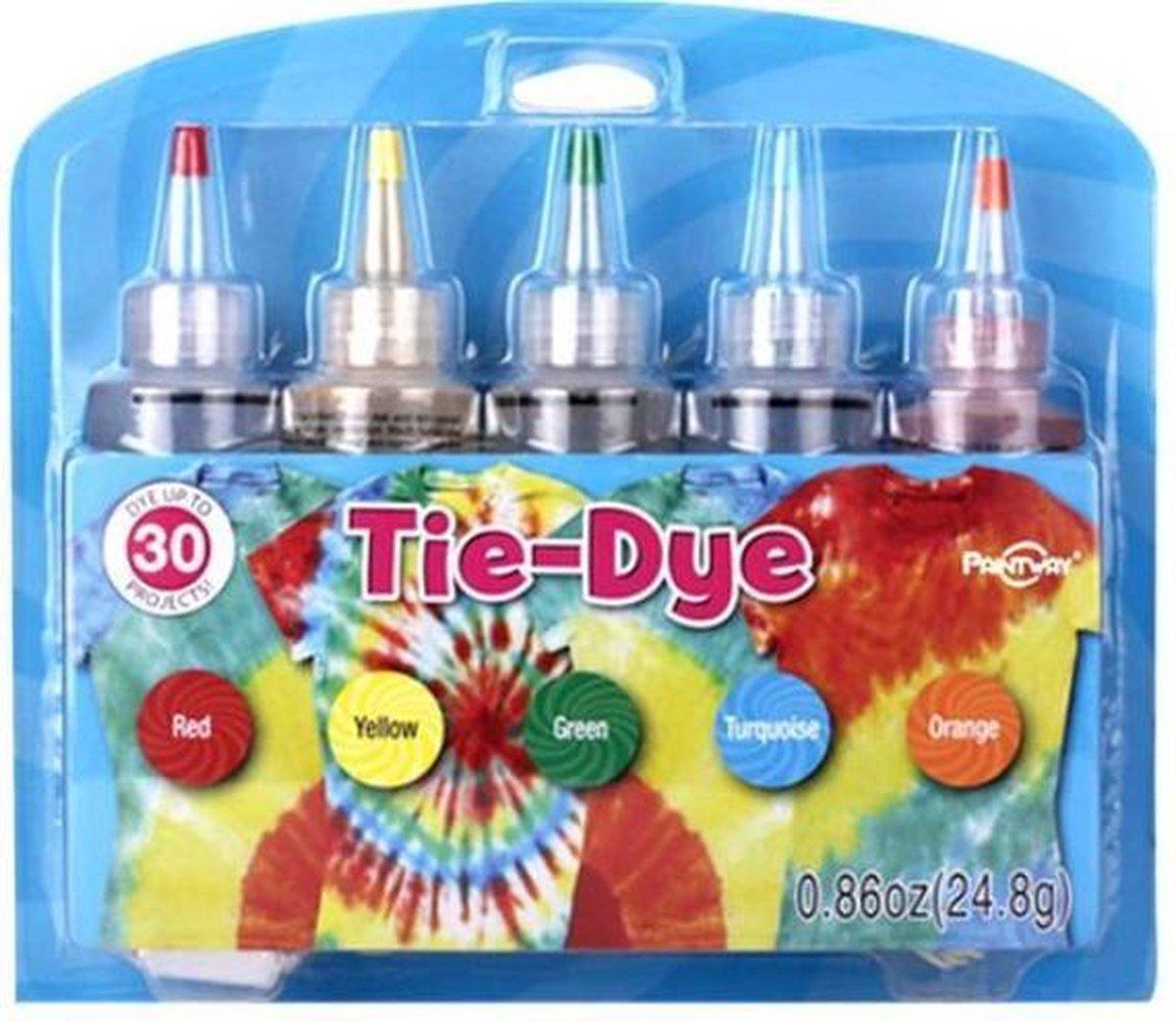 Nince Tie-Dye kit van hoge kwaliteit Kit 3 - Complete kit van 5 kleuren textiel - Tie Dye set - Tie Dye verf premium kwaliteit