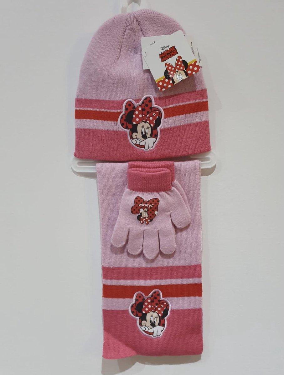 Minnie Mouse Meisjes 3-Delig Winterset Handschoenen-Muts-Sjaal Licht roze 3 tot 6 Jaar