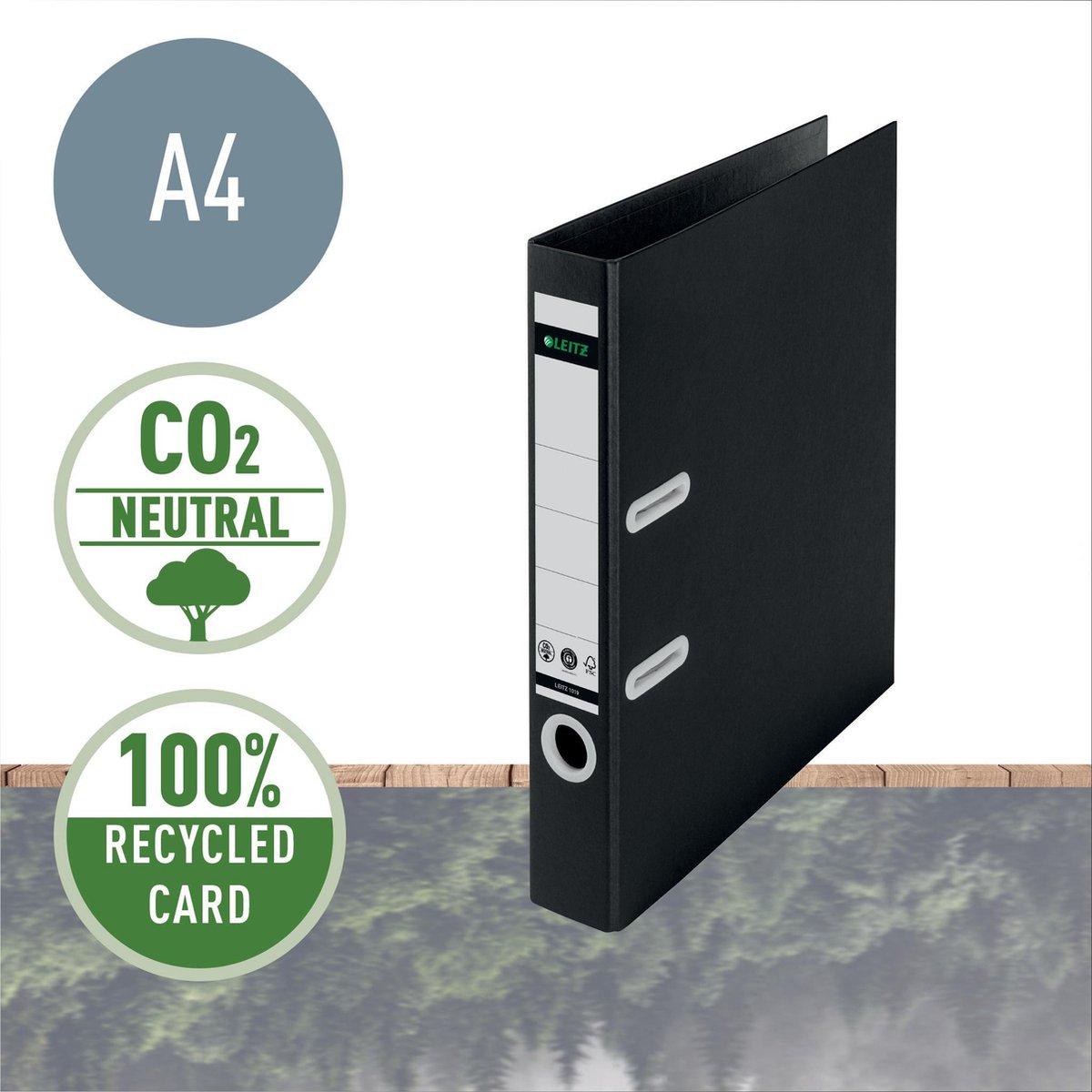 Leitz 180° Recycle Ordner A4 - 50mm - 100% Recyclebaar Met FSC & Blue Angel Milieucertificering - Transparant - Zwart/Lichtgrijs