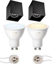 Pragmi Luxina Pro - Opbouw Vierkant - Mat Zwart - Verdiept - Kantelbaar - 90mm - Philips Hue - Opbouwspot Set GU10 - White Ambiance - Bluetooth