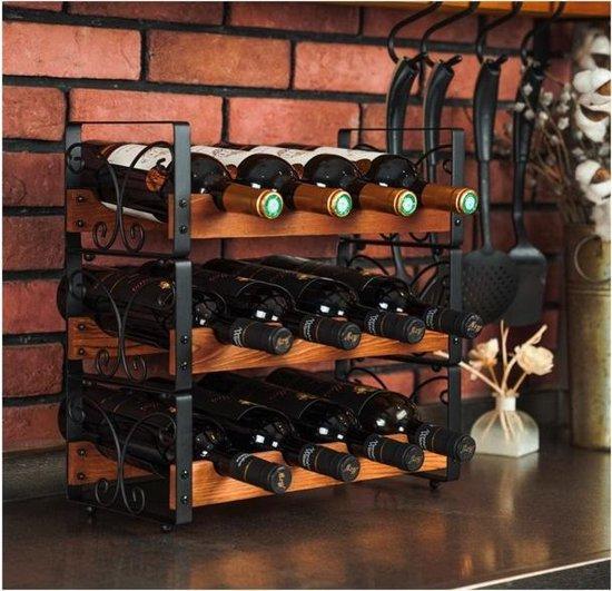 Luxergoods Wijnfleshouder - Wijnrek - Gratis Wijnflesopener -  Voor 12 flessen - 3 Delig Stapelbaar Olijvenhout Flessenrek - Hout - LuxerGoods™