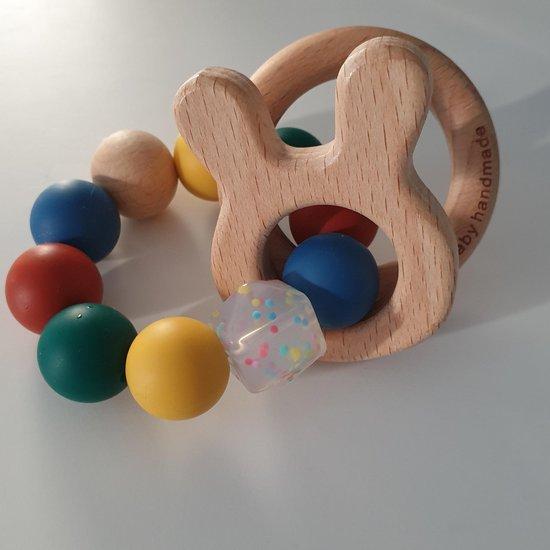 Product: Bijtring konijntje , Nijntje , Hout babyspeelgoed / bijtring, baby bijtring, kraamkado , kraamcadeau, van het merk Hee! Baby handmade