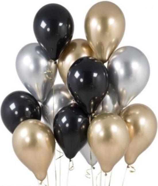 Ballonnen Set Goud - Zilver - Zwart - DH collection | Effen |  Verjaardag - Fotoshoot - Wedding - Marriage - Birthday - Party - Feest - Huwelijk - Jubileum - Event - Decoratie | Luxe - Chique