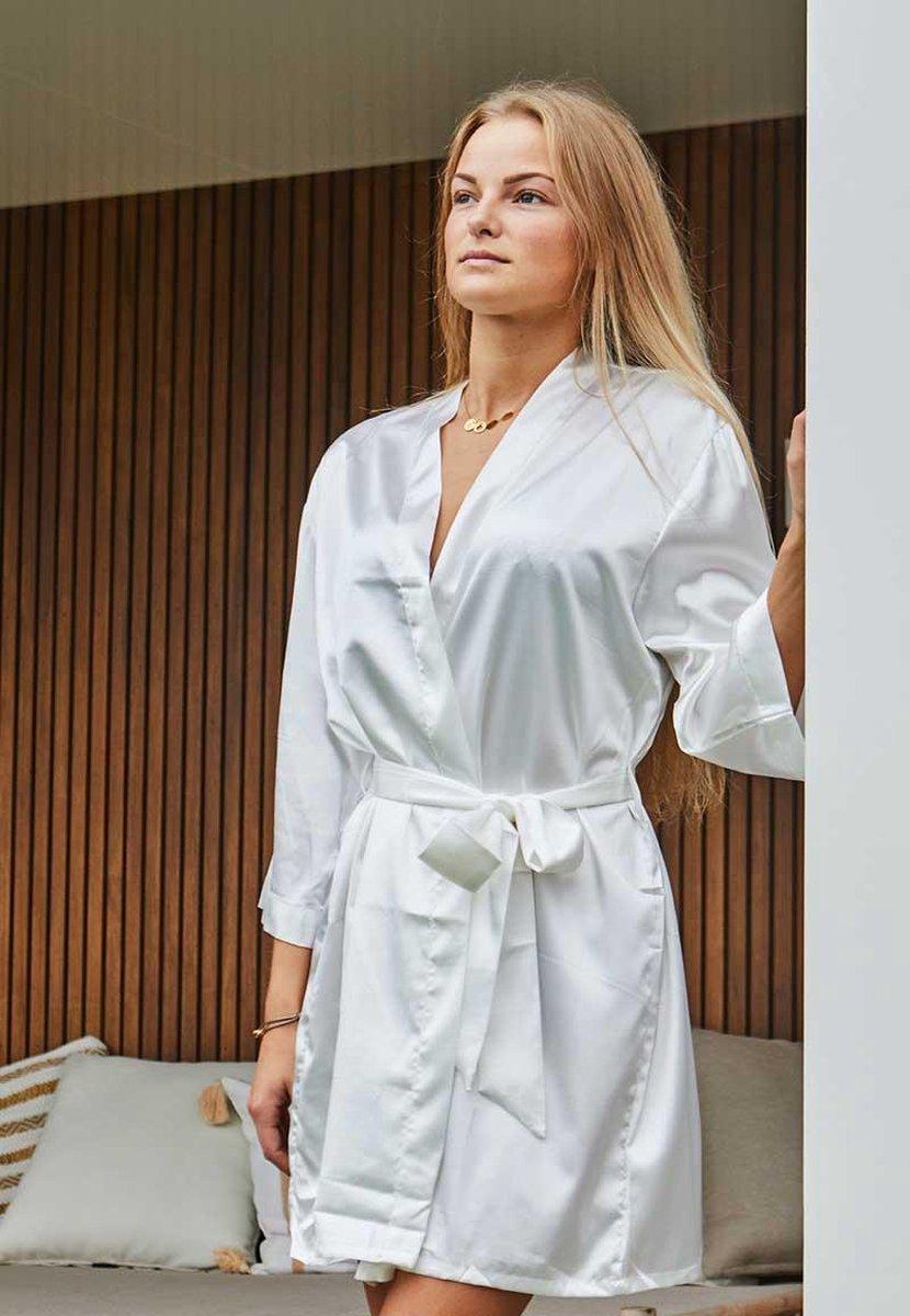 Badjas kimono satijn dames -100% polyester satijn - wit - One size (36-42)