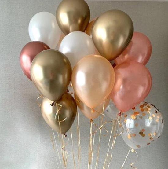 Geboorte Verjaardags Ballonnen Meisje - Dochter | Goud - Paars - Zalm - Perzik Rose en White | 9 stuks | Baby Shower - Kraamfeest - Verjaardag - Geboorte - Fotoshoot - Wedding - Birthday - Party - Feest | DH collection