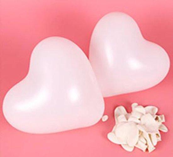 Hartjes ballonnen wit (10 stuks)   Verjaardag - Jubileum - Bruiloft - Verloving - Valentijn