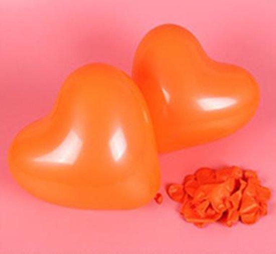 Hartjes ballonnen oranje (10 stuks)   Verjaardag - Jubileum - Bruiloft - Verloving - Valentijn