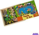 Houten Racebaan puzzels met Houten Speelgoed Auto's - Racen - Educatief - Puzzelen - Garage - Constructie - Auto Spellen - Opbergbox -Kleuren - Thuisblijfertjes -  Meeneem - Opbergbox - Duurzaam - Hout - Leggen - Leuk Kado