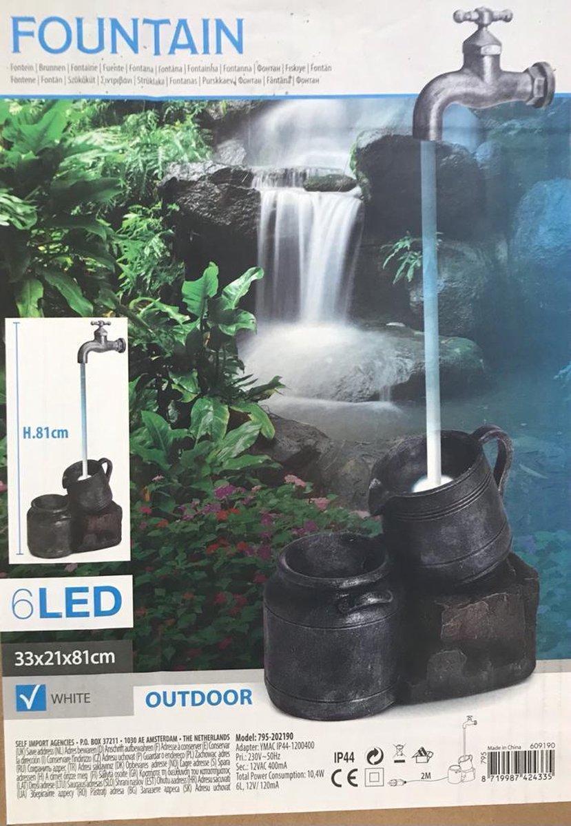 Fontein - 81 cm hoog - decoratief - incl LED