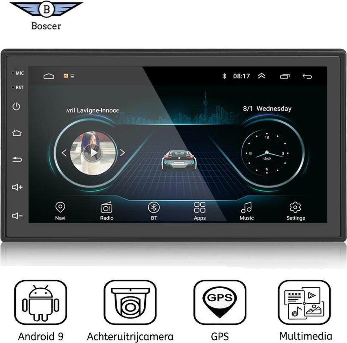 Boscer® Autoradio   Android 9.1   2 Din universeel   Navigatiesysteem   7' HD scherm   Achteruitrijcamera