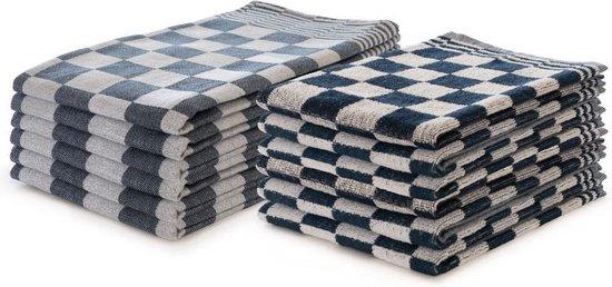 Theedoeken en Keukendoeken set Blauw - Set van 12 - Geblokt - Blokdoeken - 100% katoen - 6 Theedoeken 65x65 - 6 keukendoeken 50x50