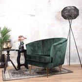 DS4U® norah fauteuil - sofa - velvet - velours - fluweel - stof - vintage groen - goudkleurig onderstel - met armleuning