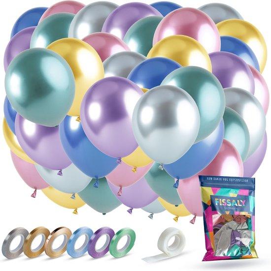 Fissaly® 42 Stuks Metallic Chrome Ballonnen met Accessoires – Verjaardag Feest Decoratie – Helium – Latex