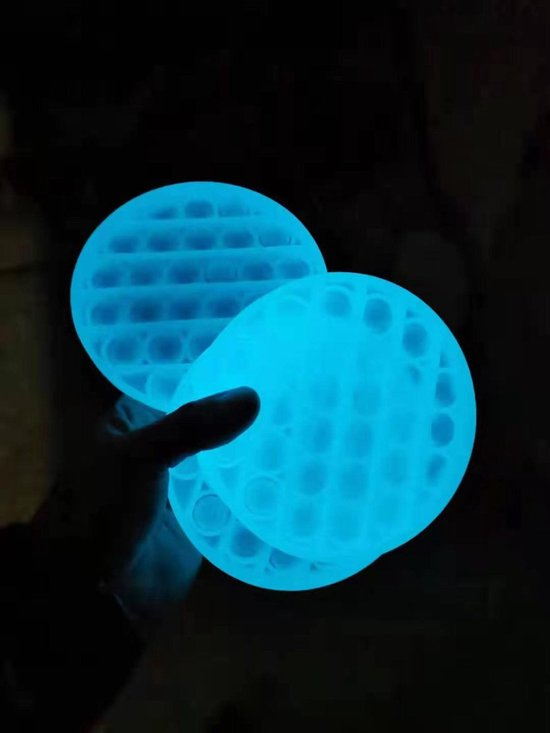 ZTWK®️ - Glow in the dark - Pop it fidget toy + 1 pea popper - Special edition - Blauw