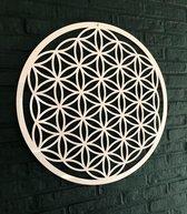 Flower of Life acryl wit glans diameter 59 cm wanddecoratie dikte 3mm