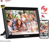 Trophy tech digitale fotolijst 2021 met WiFi en Frameo app – 10.1 inch zwart – Touchscreen – HD + IPS display + Inclusief Screenprotector en Schoonmaakdoekje