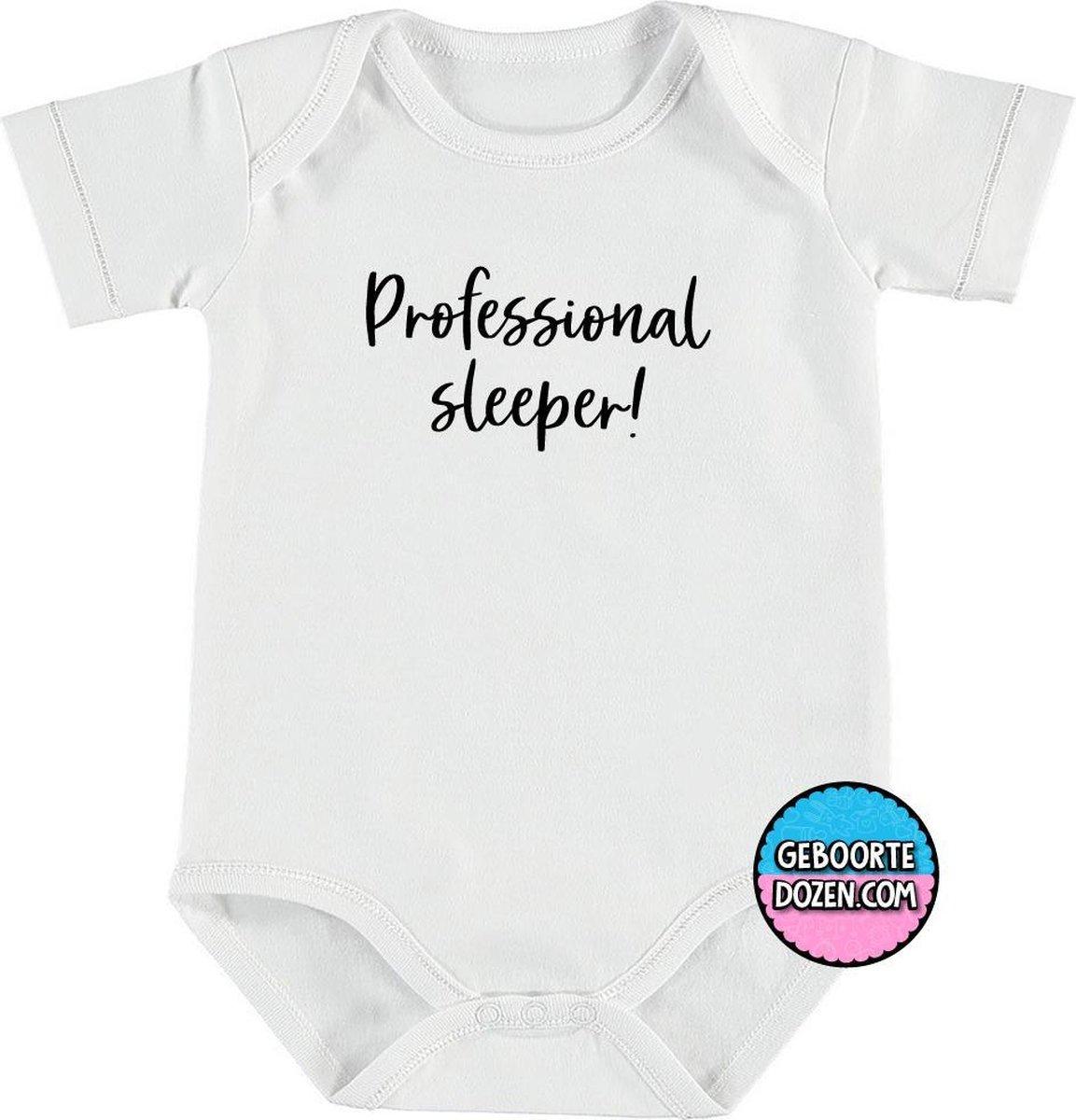 Romper - baby - rompertjes baby - rompertjes baby met tekst | Korte mouwen | Wit | Professionel sleeper! | maat 50/56