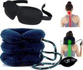 JT Products Orthopedische Nekkussen Bij Nekpijn – Inclusief Slaapmasker - Postuur Corrector – Houding Correctie – Nekstretcher – Pijnverlichting – Schouderpijn - Suede Blauw