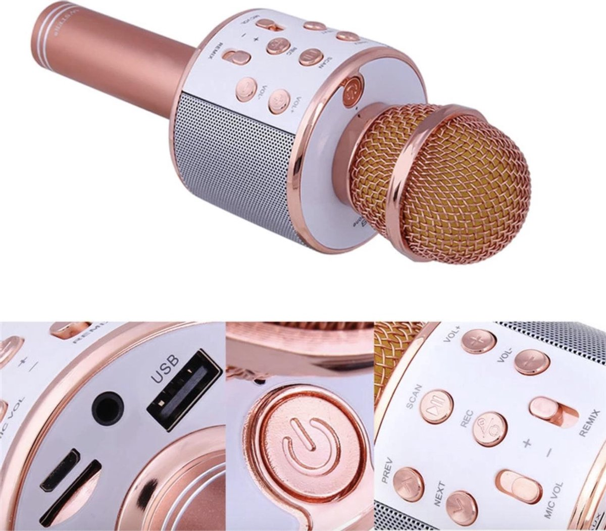 Karaoke Microfoon - Draadloos - Bluetooth Verbinding - Rosékleurig - Voor de gezelligste feestjes