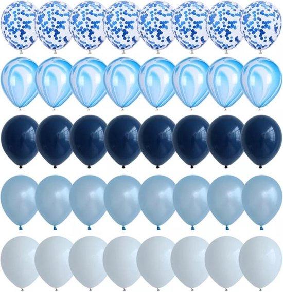 Partygoodz 40 Stuks - Licht Blauw - Blauw - Marmer - Confetti - Wit - Ballonnen Set - Decoratie - Papieren Confetti - Verjaardag - Feest