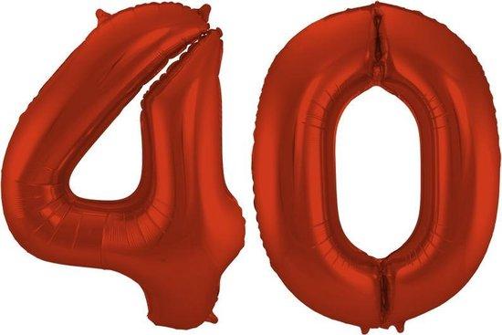 Cijfer 40 Rood Helium 86 cm