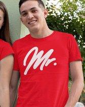 Mr & Mrs T-Shirt Premium Red (Mr - Maat XL)