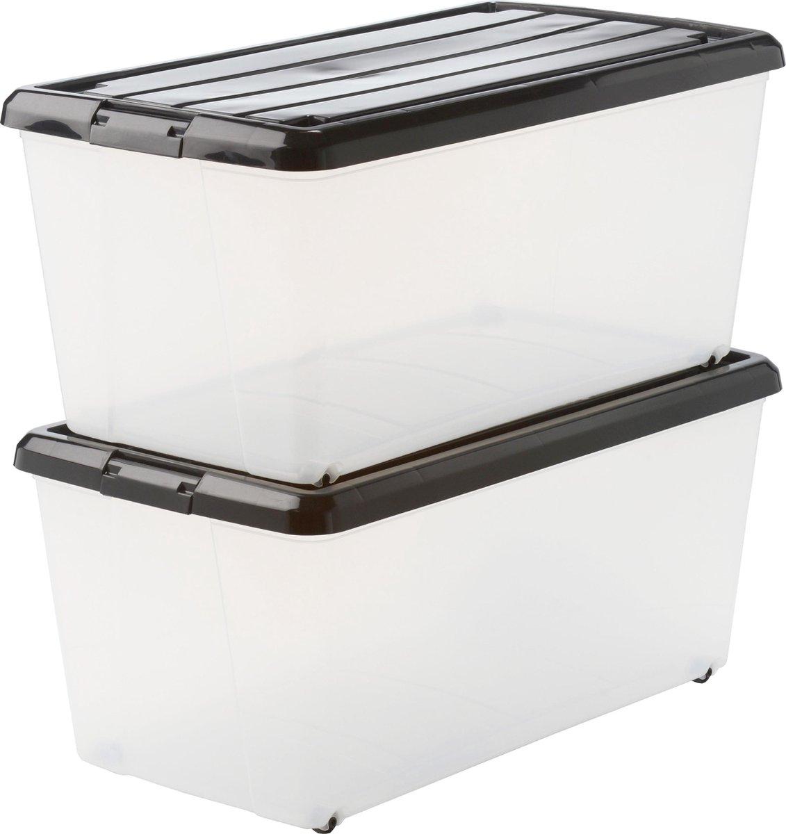 IRIS Rollerbox Opbergbox - 70L - 2 Stuks - Transparant/Zwart