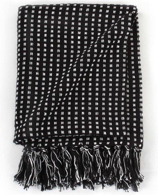 vidaXL Plaid vierkanten 160x210 cm katoen zwart