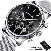 CRRJU® Horloges voor Mannen Herenhorloge Jongens Heren Watch Horloge – Horlogebox Geschenkdoos – Zilver Zwart