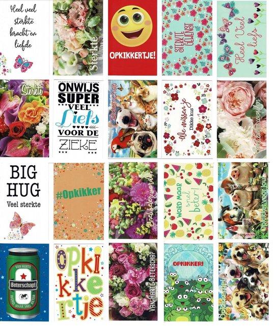 20 Luxe wenskaarten - Beterschap / Sterkte - 17x12cm - Gevouwen kaarten met enveloppen