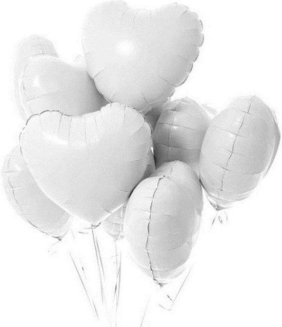 Hartjes Ballonnen Wit 5 Stuks | Folie Ballonnen set voor Valentijnsdag | Helium Ballon | Party Feest Blonnen | Romantische Versiering - 45cm