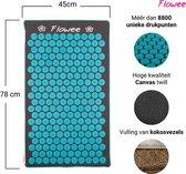Flowee Spijkermat ECO – Grijs met Blauw - 78cm x 45cm – Kokosvulling - Acupressuur mat – Acupressure mat