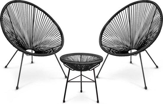 LifeGoods Acapulco Tuinset - 3-Delig - Tuin / Balkon Meubelen - 2 Persoons Balkonset - Twee Draadstoelen en Bijzettafel - Zwart