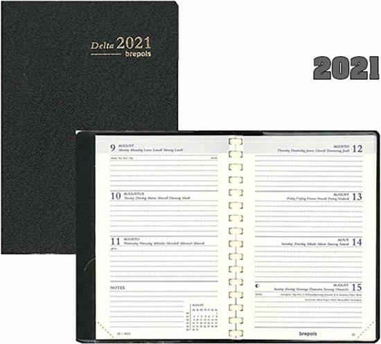 Afbeelding van Brepols Agenda 2021 • Delta • Genova PVC cover • spiraal • uitneembaar ABC •  8,1 x 12 cm • Zwart