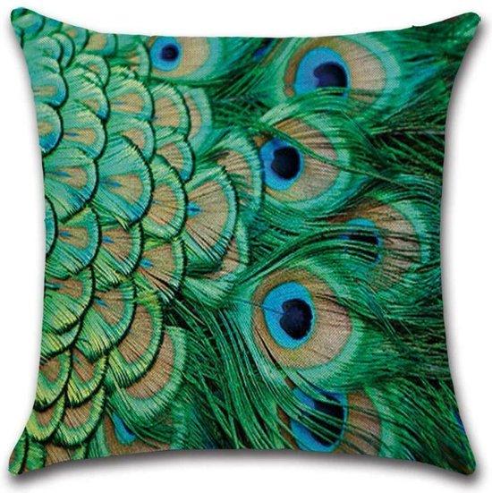 Kussenhoes Peacock - Helder Groen - Kussenhoes - 45x45 cm - Sierkussen - Polyester