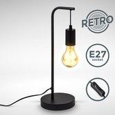 B.K.Licht - Zwarte Tafellamp - voor binnen - retro - industriële - metaalen bedlamp - netstroom - aan/uit schakelaar - slaapkamer - bedlamp - E27 fitting - excl. lichtbron
