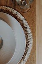 Placemats boho - handgemaakt op Bali - bruin wit - tafel decoratie - set van 2