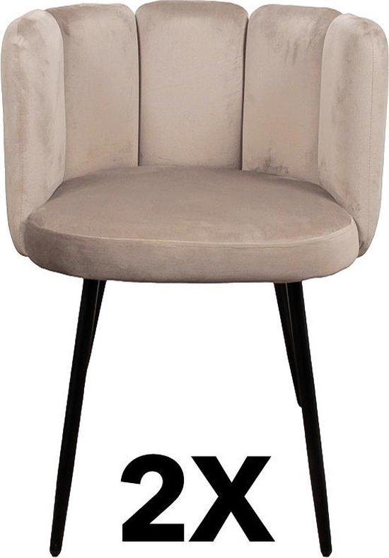 Velvet Eetkamerstoelen Beige (2 stuks) | Velvet Chairs